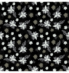 Vintage black and white floral seamless pattern vector image vector image