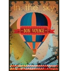 Vintage hot air balloon in the sky vector