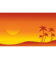 Seaside with palm silhouettes collection vector