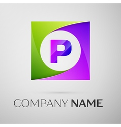 Letter p logo symbol in the colorful square on vector