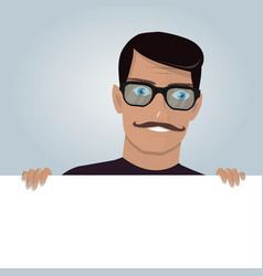 Cartoon man and blank paper for web site user vector
