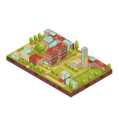 Modern university buildings isometric layout vector