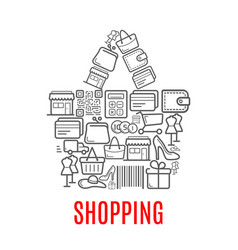 Shopping bag symbol made up of sale icons vector