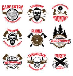 Set of wood works design elements vector