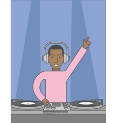 Dj with turntable vector