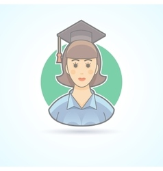 Graduated girl woman in an academic cap icon vector
