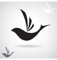 Stylized black silhouette of a flying bird vector