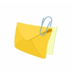 Yellow envelope with steel clip icon vector