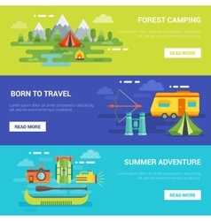 Summer Tourist Adventures Horizontal Banners vector image