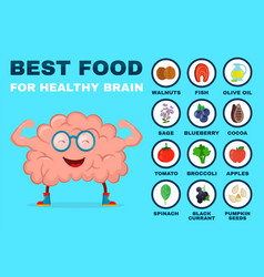 best food for strong brain strong healthy vector image vector image