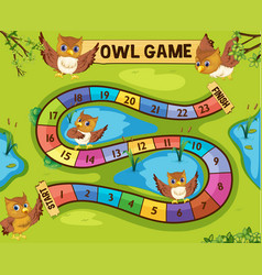 Boardgame template with owls in background vector
