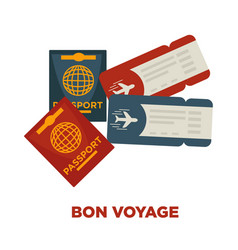 bon voyage promotional poster with international vector image