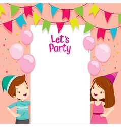 Boy and girl on party frame vector