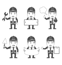 Builder characters set black vector image