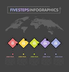 Business infographics template timeline with 5 vector