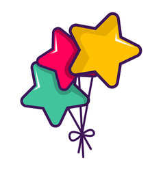 Colourful star shaped balloons icon vector
