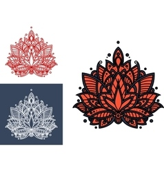Coral persian paisley flower with oriental pattern vector