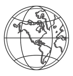 Earth globe with latitudes and meridians icon vector
