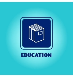 Education logo with book pile vector image