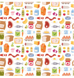 Everyday food icons patchwork seamless vector