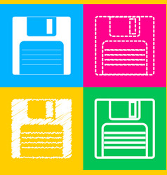 floppy disk sign four styles of icon on four vector image