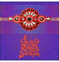 Greeting card for indian festival sisters and vector