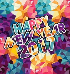 Happy new year text abstract triangle color mosaic vector