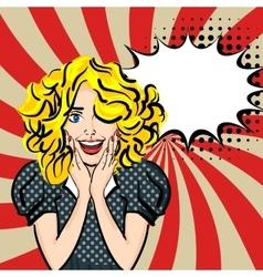 Happy sexy blonde hair girl pop art vector image vector image