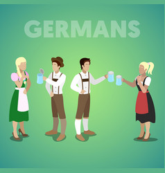 Isometric german people in traditional clothes vector