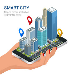 isometric smart city concept mobile gps vector image vector image