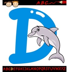 letter d for dolphin cartoon vector image vector image