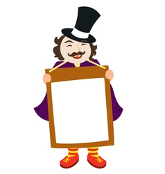 man holding up sign vector image vector image
