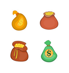 money bag icon set cartoon style vector image