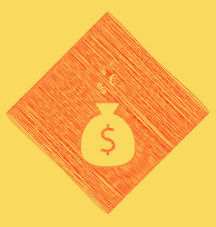 Money bag sign with currency symbols red vector