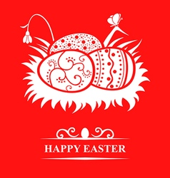 Nest eggs card red vector