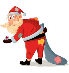 poor santa with patchy costume and small gift vect vector image vector image