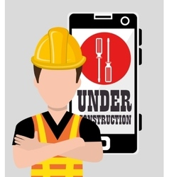 Professional construction on site vector image