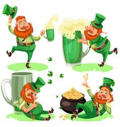 saint patrick day characters leprechaun with mug vector image