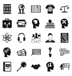 Scholarship icons set simple style vector