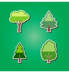 set of color icons with trees vector image