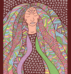 Shaman hippie girl with ornate hair allegory for vector