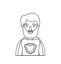Sketch contour caricature half body super hero man vector