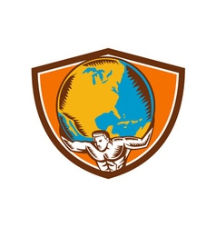 Atlas carrying globe crest woodcut vector