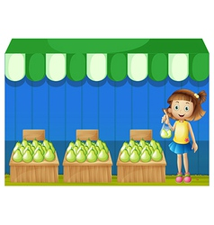 A girl at the fruit market vector