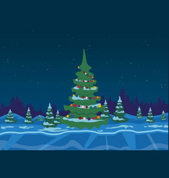 Winter forest with christmas tree vector