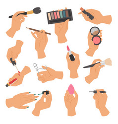 Collection of makeup cosmetics and brushes in vector