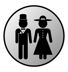 Male and female restroom symbol button vector