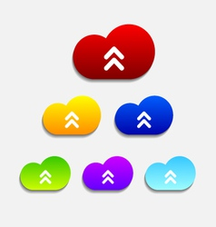 Set of six colorful upload cloud icons vector