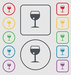 Glass of wine icon sign symbol on the round and vector