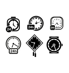 Wall clocks watch and alarm icons vector
